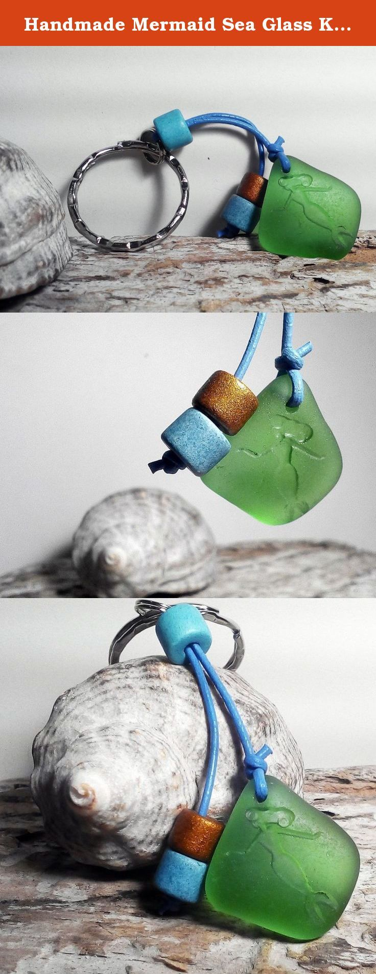 """Handmade Mermaid Sea Glass Keychain Bag Charm Mermaid Beach Accessories. This one-of-a-kind seaglass mermaid charm would be a wonderful gift for real mermaid! Small but elegant and unique thing for your look! Natural green seaglass with engraved mermaid combines with rustic ceramic beads. Also can be used as attachment to your bag. Size of seaglass - about 1"""" / 2,5 cm. This keychain will come beautifully boxed. This sea glass was found on the Black Sea shore near Varna city, Bulgaria by…"""