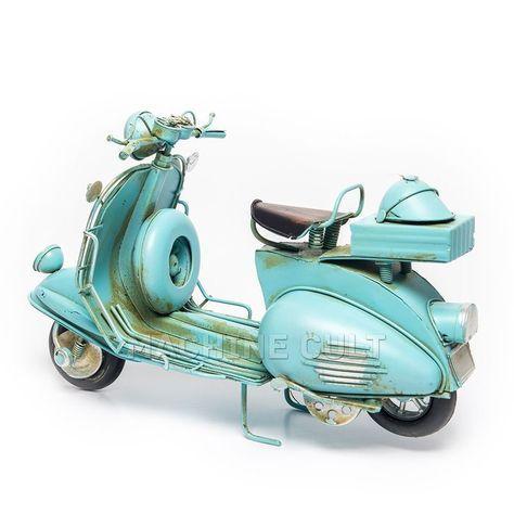 Lambretta Azul Decorativa - Machine Cult | Loja online especializada em camisetas, miniaturas, quadros, placas e decoração temática de carros, motos e bikes
