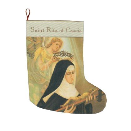 St. Rita of Cascia Large Christmas Stocking - christmas stockings merry xmas cyo family gifts presents