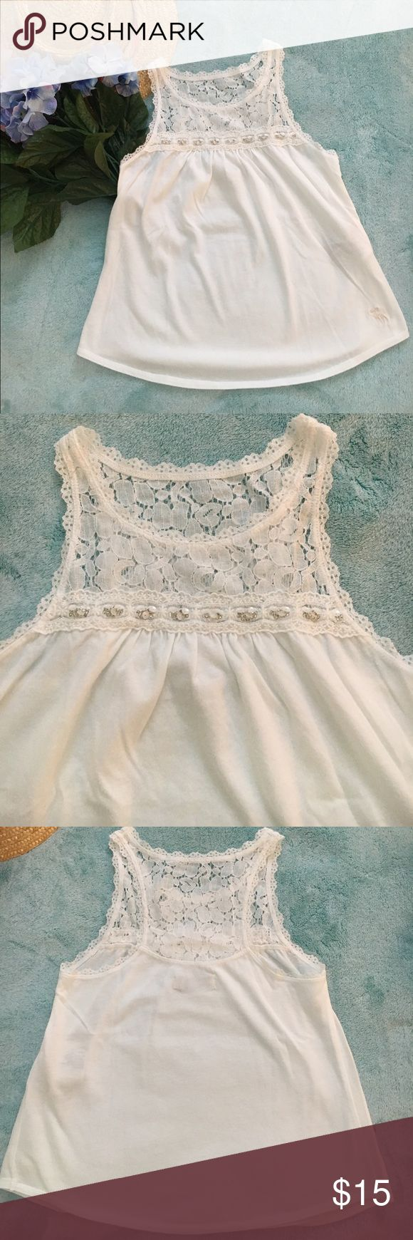 Abercrombie Girls Embellished Tank Size S Pretty & Dainty Abercrombie Girls Embellished Tank. Excellent condition! abercrombie kids Shirts & Tops Tank Tops