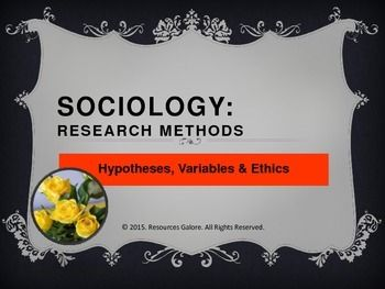 This resource includes a clear description of a hypothesis, variables and ethics involved in Sociological research. The slides include examples for the dependent and independent variables and cover the important ethical principles. This is a good primer for introducing the significant features of research in Sociology.Check out more quality, ready-to-use resources:More from Re-sources GaloreFollow me on:PinterestCLICK on the green FOLLOW ME button and be the first to know when new resources…