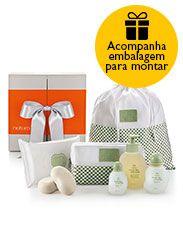 Presente Mamãe e Bebê - Colônia + Sabonete + Lenços + Nécessaire + Saco Organizador + Embalagem
