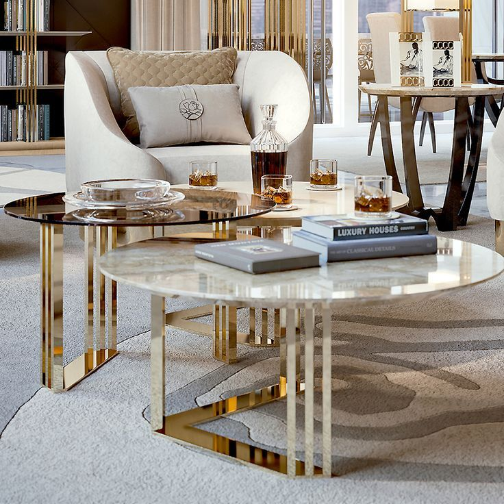 24CT GOLD COFFEE TABLES TRIO