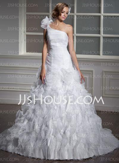 Wedding Dresses - $226.99 - Ball-Gown One-Shoulder Chapel Train Organza Wedding Dress With Ruffle Flower(s) (002012798) http://jjshouse.com/Ball-Gown-One-Shoulder-Chapel-Train-Organza-Wedding-Dress-With-Ruffle-Flower-S-002012798-g12798