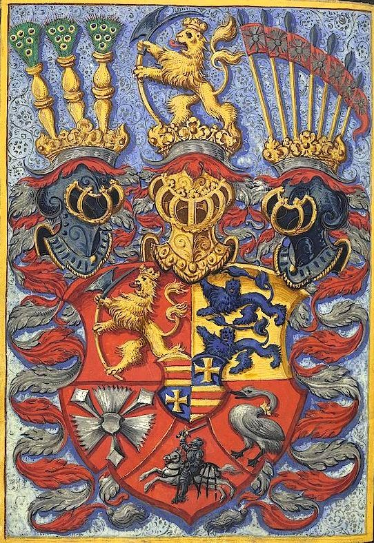 Coat of Arms of Friedrich II. of Schleswig-Holstein-Gottorf (1568-1587), illustrating his inscription to Heidelberg University in 1582. -- «Matrikel der Universität Heidelberg (Band 4): 1579-1662» Heidelberg [Heidelberg, Universitätsarchiv, UAH M4], f°17v -- http://digi.ub.uni-heidelberg.de/diglit/uah_m4 -- écartelé : Norvège, Schleswig, Holstein, Storman ; enté en pointe : Ditmarsie ; sur le tout : écartelé Oldenbourg et Delmenhorst.