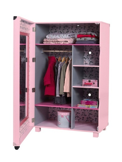 armoire dressing fille roulettes citad 39 ailes rose moyen imprime vertbaudet enfant d co. Black Bedroom Furniture Sets. Home Design Ideas
