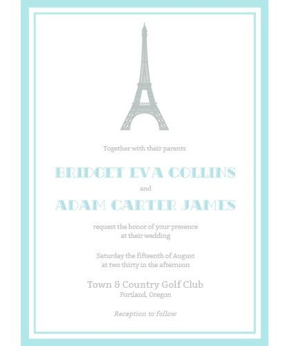 Eiffel Tower Paris Wedding Invitation Suite Party Planning