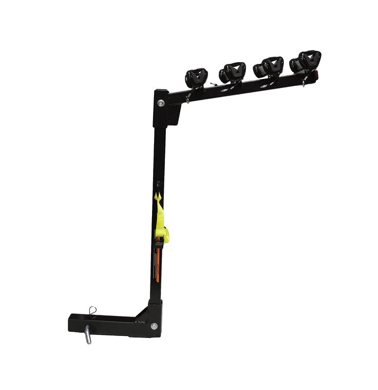 """4 Bike Carrier Bicycle Rack Hitch Mounted Beach Cruiser Bike Rack. New Ultra Sturdy Design with Right Angle Steel Plate Weld for Transporting up to 4-Beach Cruisers. Protective Rubber Fixtures Protect Against and Avoid Scratching Bikes. 1-1/2"""" Dual Canvas Straps with Industrial Strength Velcro Grasp and Secure the Bikes. Yellow Nylon Pull Lock Strap is Located Mid Shaft of the Rack and is Used to Thread Through and Secure Bike Tires/Wheels from Moving. Designed to Fit a Standard 2"""" Hitch..."""