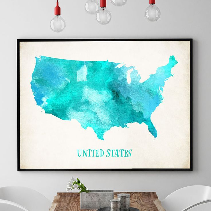 US Map Wall Art, United States Map Poster, USA Map Print, Map Of USA Wall Art, Home Decor, Watercolour Map, Kids Room Decor (731) by PointDot on Etsy