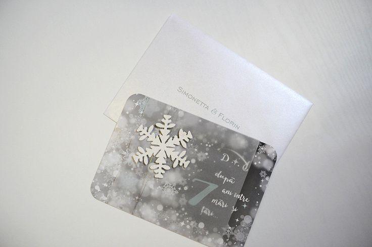 Winter Wedding  Ice Queen Invitation. Snowflake Invitation. Winter Wonderland. Grey and White Winter Invitation. Winter Quinceanera by InvitatiiCouture on Etsy