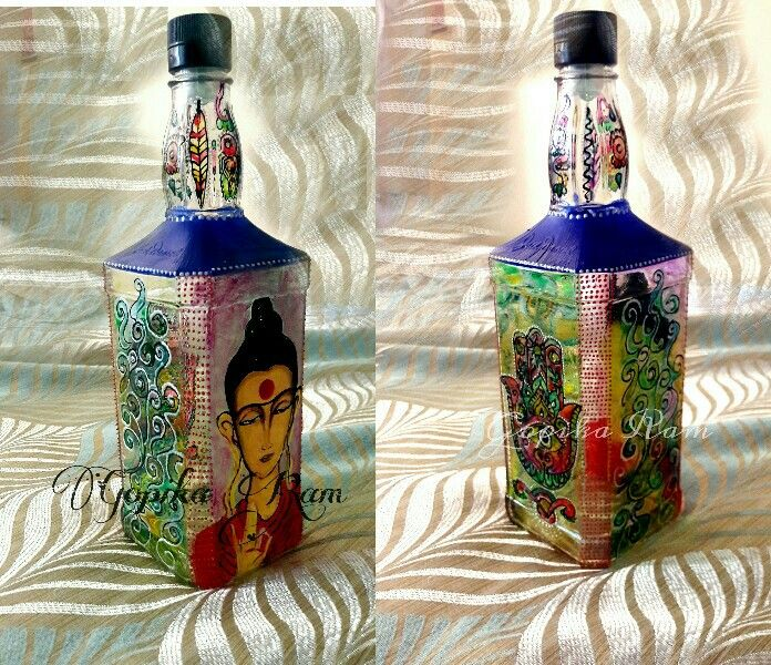Altered bottle The buddha and Humsa hand