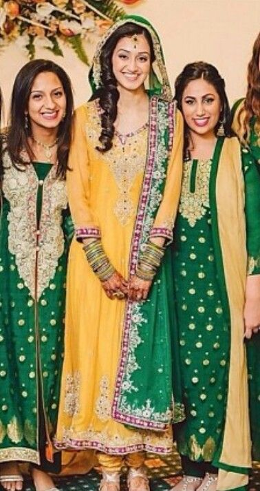 Nice color combination for the mehndi with matching bridesmaid dresses
