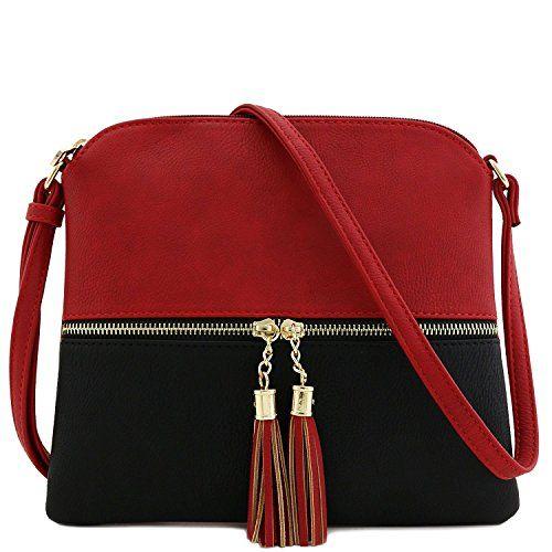 Lightweight Medium Crossbody Bag With Tassel Red Black