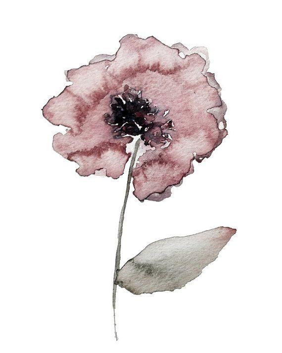 poppy abstract impressionist modern by KianaMosleyStudio on Etsy