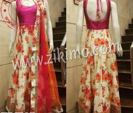 Zikimo Pink Yoke Party Wear Floral Anarkali Suit