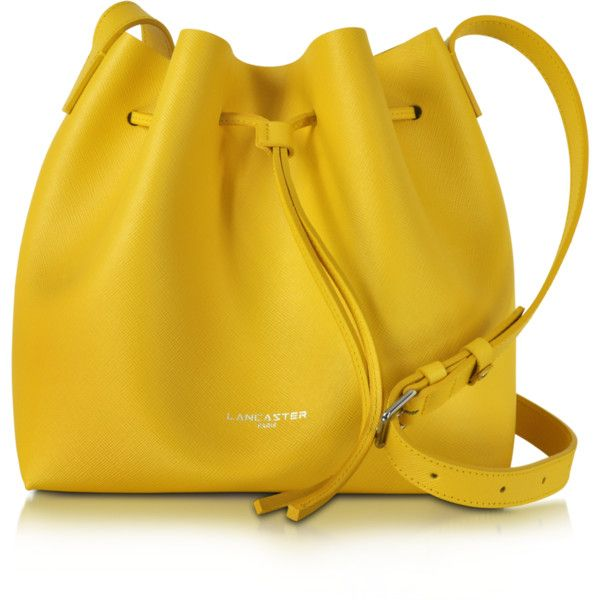 Lancaster Paris Handbags Pur & Element Saffiano Leather Bucket Bag ($245) ❤ liked on Polyvore featuring bags, handbags, shoulder bags, yellow, purse shoulder bag, handbags purses, drawstring shoulder bag, purse pouch and handbags shoulder bags