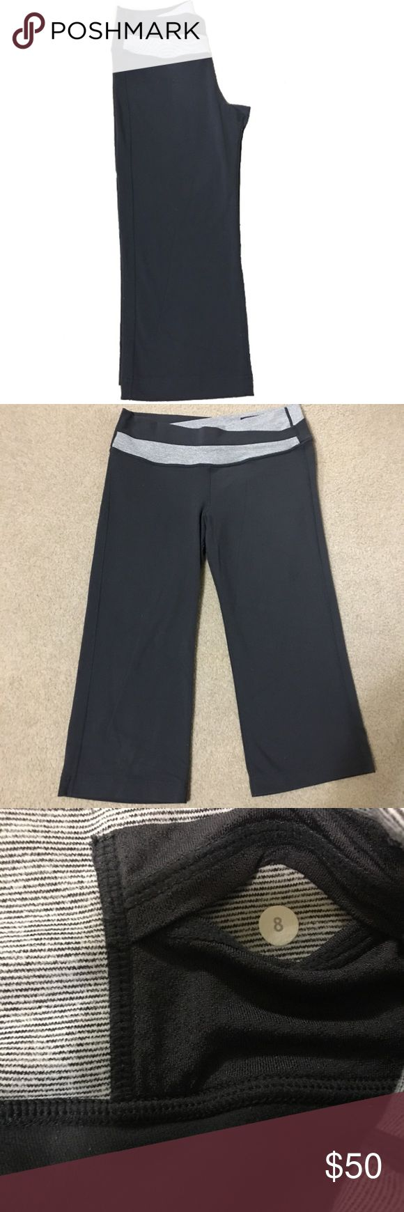 Lululemon Astro cropped pants Material is mainly black with black and white stripes.  In great gently used condition  Offers welcome! lululemon athletica Pants Ankle & Cropped