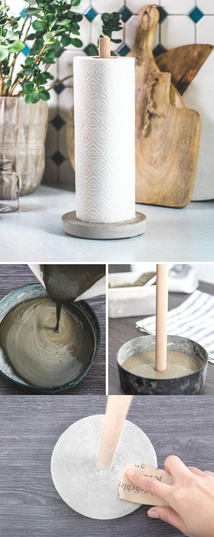 Beton Deko DIY – Beton für Deko – so machen Sie sich selbst einen Küchenrollenhalter … #WoodWorking