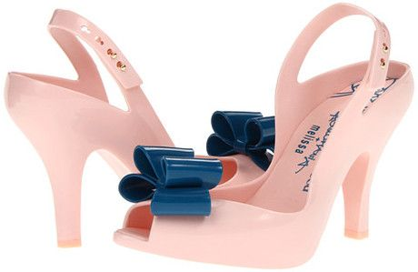 Vivienne Westwood Anglomania + Melissa Lady Dragon Pink with Navy Bow Slingbacks heels