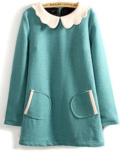 Blue Contrast Lapel Long Sleeve Pockets Dress