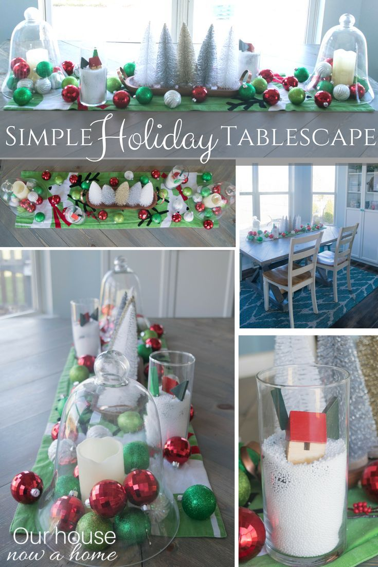 Simple Holiday Table Centerpiece Using Dollar Store Items And Easy