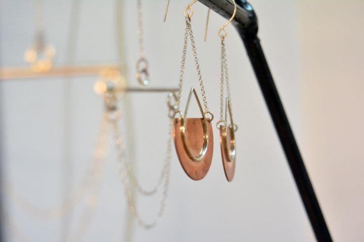 Super minimal dangle handmade in silver and copper.