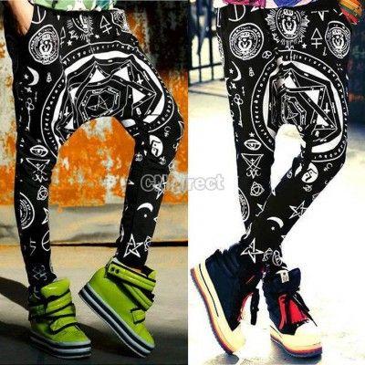 hip hop occult black magic pants sarouel urban streetwear