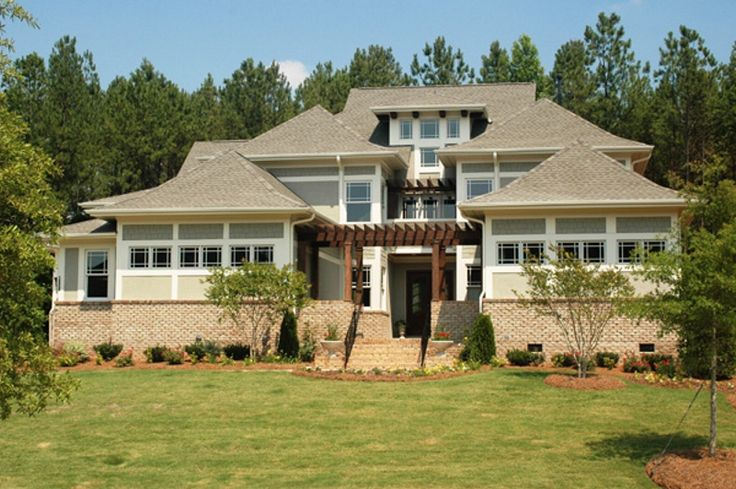 Wright plan 5185 front exterior style asian prairie for Prairie craftsman