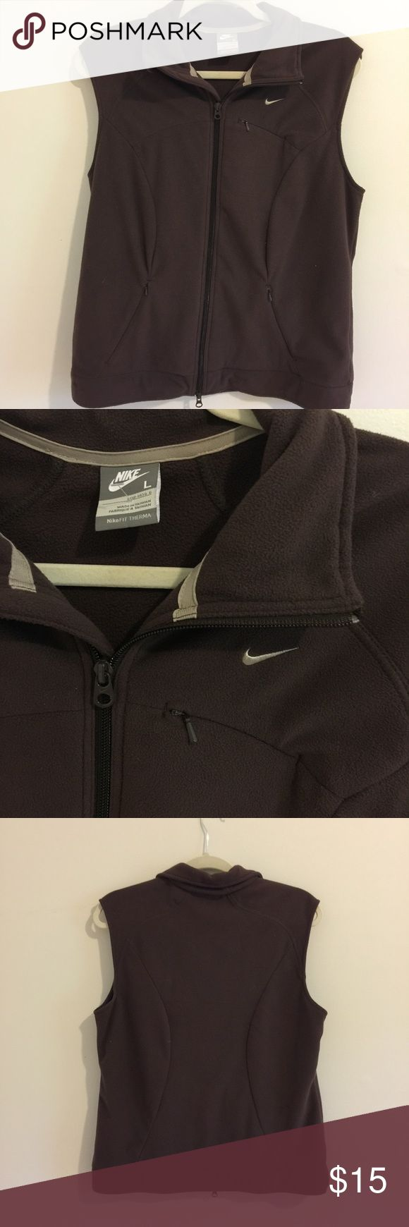 💥CLEARANCE💥Nike full zip vest with pockets! Brown Nike Vest Women's Size Large! Full zip with zipper pockets! Great condition!! Clearance price is firm! Nike Jackets & Coats Vests