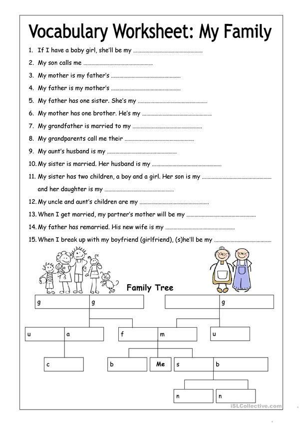 Vocabulary Worksheet My Family Medium Worksheet Free Esl Printable Worksheets Made B Vocabulary Worksheets Free Worksheets For Kids Family Tree Worksheet