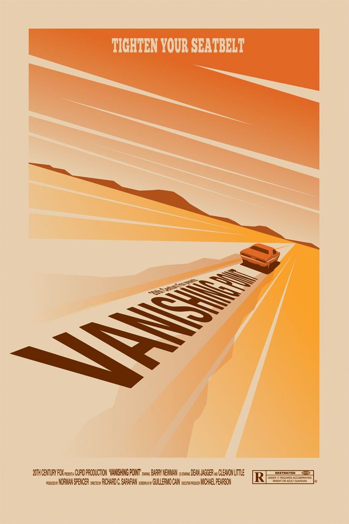 "Alternative poster ""Vanishing Point"" (by Ollie Boyd). Directed by Richard C…"