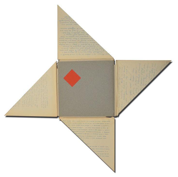 Bruno Munari, De Kwadraat-Bladen - The Quadrat-Prints - Le feuilles-Cadrat - Die Quadrat-Blatter. An unreadable quadrat-print by Bruno Munari. 1953