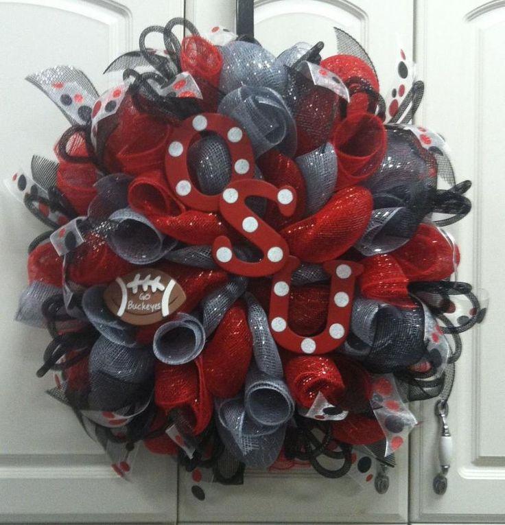Ohio State Deco Mesh Wreath | ... deco mesh wreath 70 00 sold custom order ohio state buckeyes deco mesh