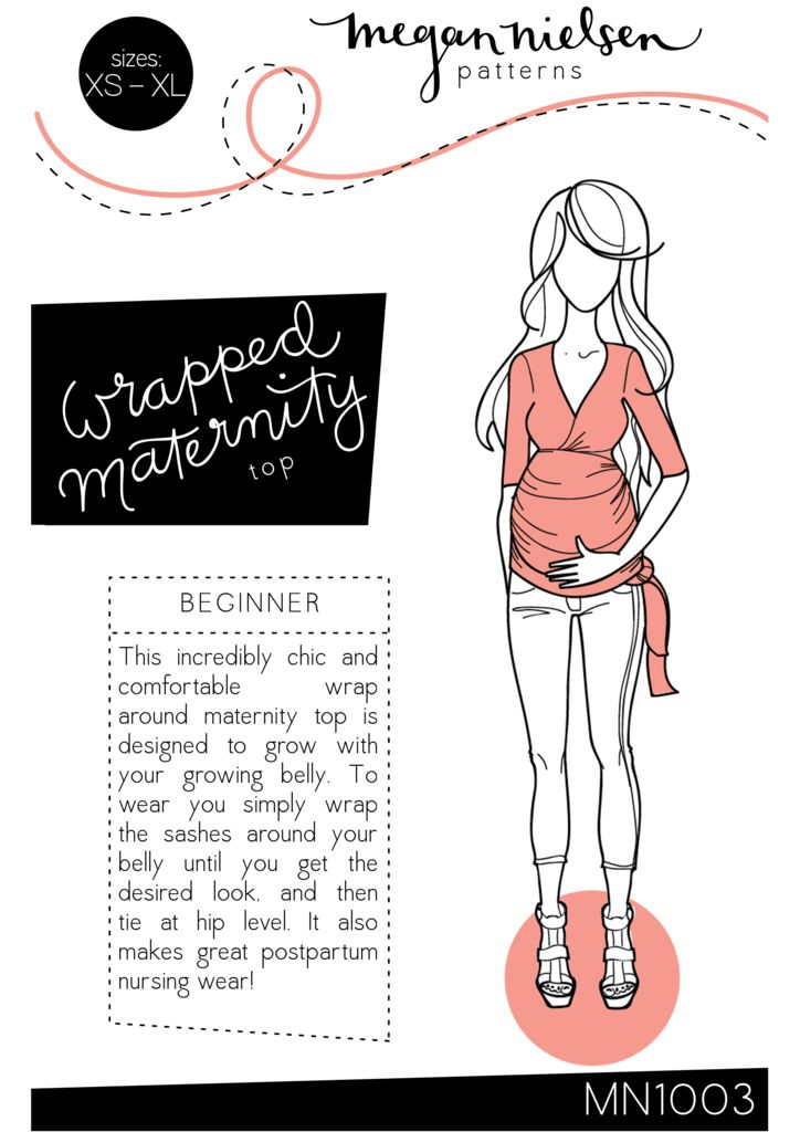 Megan Nielsen Wrapped Maternity top sewing pattern // http://megannielsen.com/collections/sewing-patterns/products/wrapped-maternity-top-sewing-pattern // $18