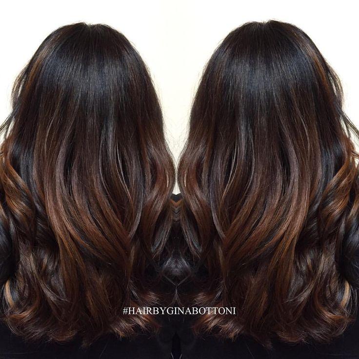 #HairByGinaBottoni dark chocolate balayage.
