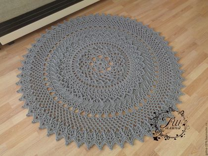 """Текстиль, ковры ручной работы. Ярмарка Мастеров - ручная работа. Купить Вязаный ковер """"Счастье"""". Handmade. Серый, шнур, дизайн"""