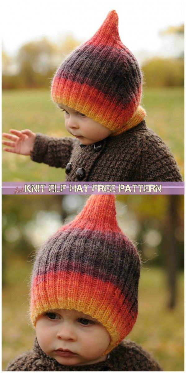 Knit Striped Elf Hat Free Pattern