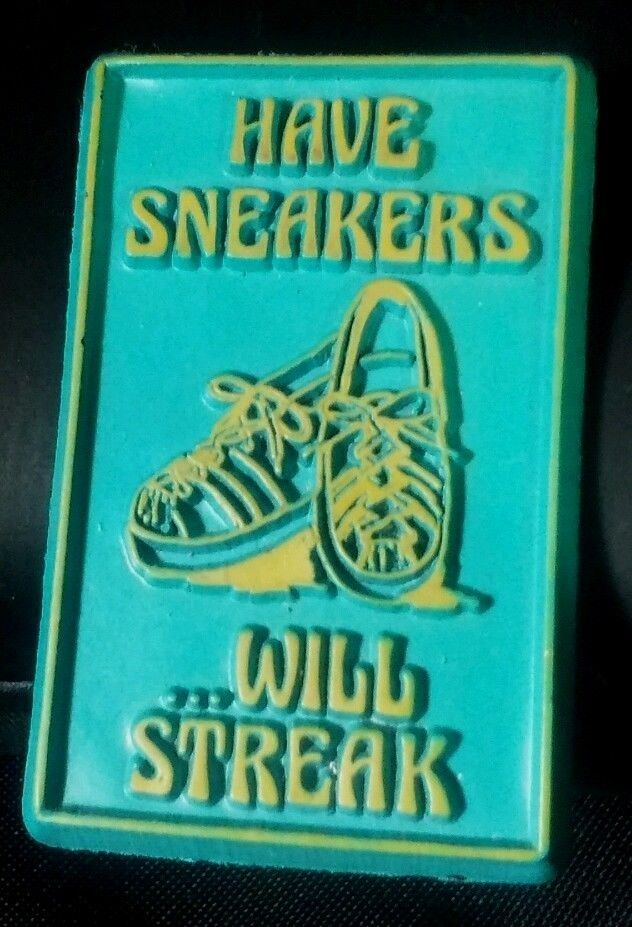"Vintage Fridge Locker Magnet ""Have Sneakers Will Streak"" Funny Magnetic Novelty"