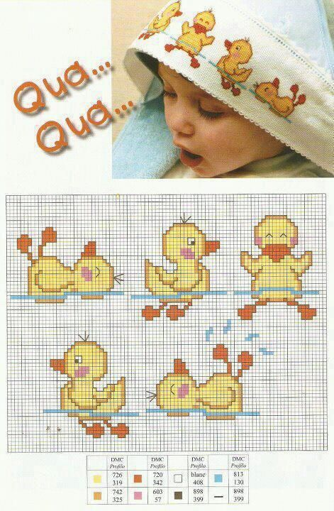 <3 cross-stitch ducks in different poses