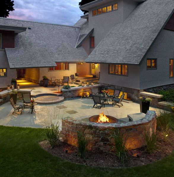 Semi Circle Seating Around The Fire Pit With A Back To It. Lay Out