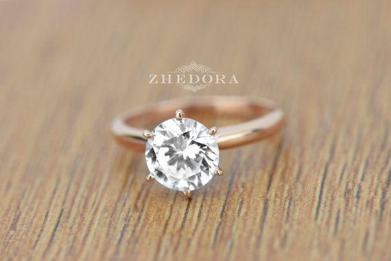 250 CT Runde Solitaire Engagement Hochzeit Ring in von Zhedora