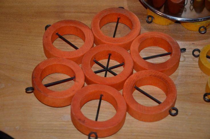 Vtg AARIKKA Wooden Orange Trivet for Coffee Pot or Kettle