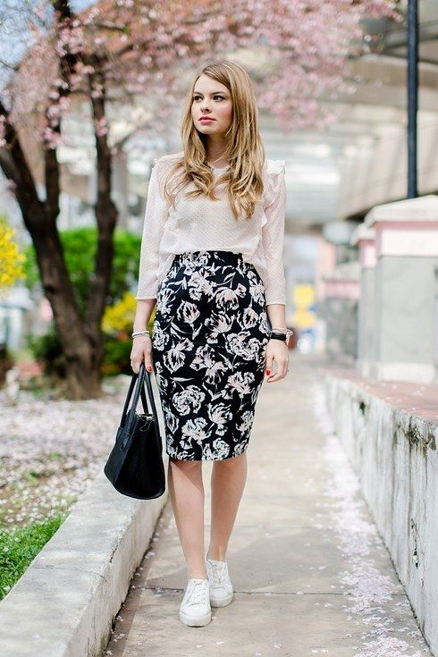 Or try out canvas sneakers with a pencil skirt and a tucked-in blouse:   29 Looks For Women Who Don't Want To Wear Heels
