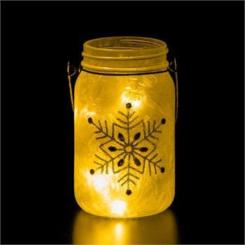 Snowflake Glass Mason Jar