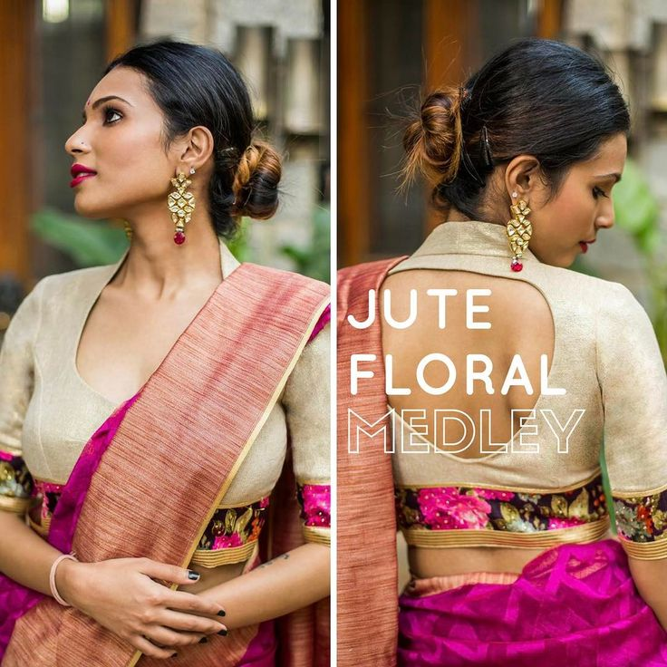 The coolness of shimmer jute combined with the prettiness of floral borders. Find them at our Ready To Shop section at houseofblouse.com #houseofblousedotcom #newin #shimmer #jute #potneck #floral #borders #celebrations #color #blouse
