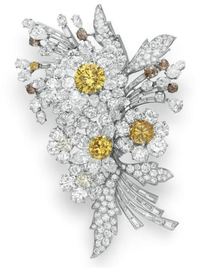 A Bulgari brooch: white, yellow and brown diamonds mounted in platinum, 1959. Formerly the property of Elizabeth Taylor.