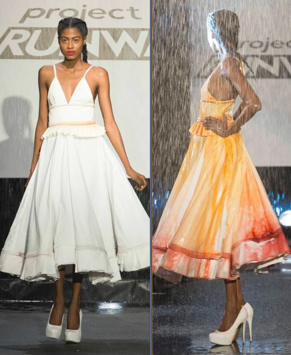 Project Runway Season 13 - the Rain avant-garde challenge - Sean's winning look - initially white, the dress washed in the rain and revealed the colors underneath