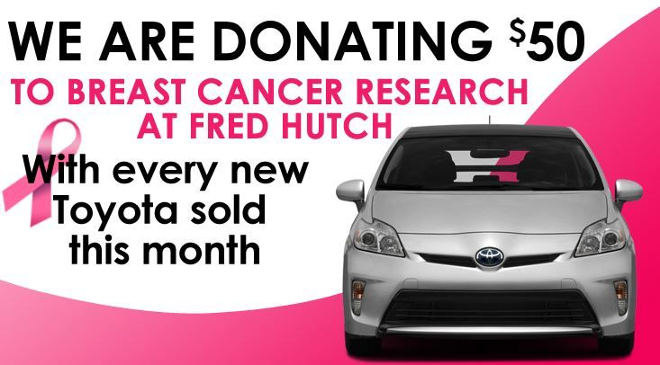 At Toyota of Puyallup, we want to do our part to help put a stop to breast cancer! That's why our dealership is donating $50 for every new Toyota sold this month! Check out our new blog post to learn more about our commitment to supporting breast cancer research over the years:  http://toyotapuyallup.wordpress.com/2014/10/15/this-month-buy-a-new-toyota-and-support-breast-cancer-research/  #BreastCancerAwarenessMonth