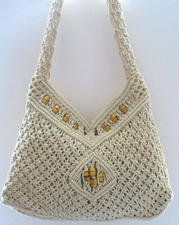 Vintage Macrame Festival Shoulder  Bag With Wood Beads