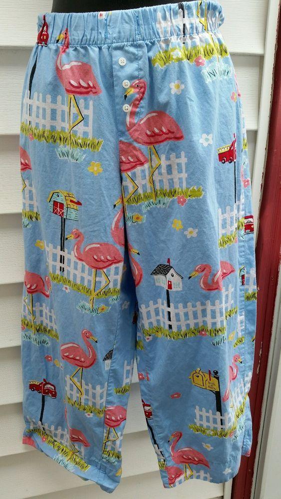 "Nick & Nora ""Flamingos & Mailboxes""  PJ Bottoms - SZ Small Tropical #NickNora #LoungePantsSleepShorts"